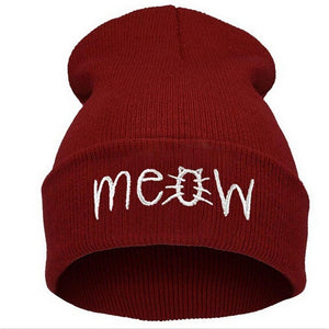 2014 New Winter Beanies MEOW Beanies Black Red Blue Winter Hiphop Hats - The Rogue's Clothes