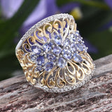 925 Sterling Silver & Blue Synthetic Tanzanite Gemstone Women's Engagement Ring and Wedding Band - The Rogue's Clothes