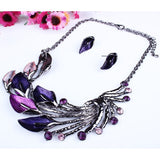 Ulamore Lady Purple Peacock Enamel Bib Necklace Stud Earrings Set