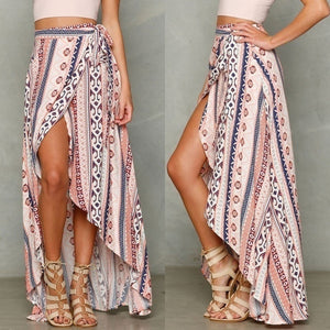 68a534359 Womens Boho Gypsy Tribal Floral Skirt Maxi Summer Beach Long Casual Skirt  Dresses (Color: