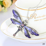 Fashion Brilliant Dragonfly Charms Chic Necklace With Chain Rhinestone Inlay Bohemian Statement Necklace