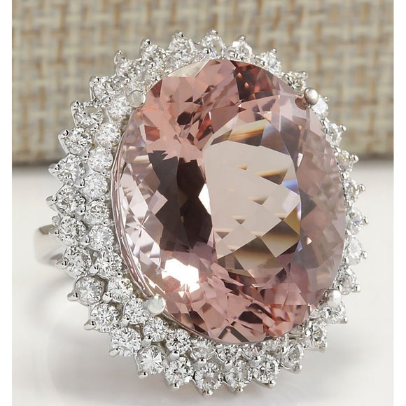 925 Sterling Silver Natural 11.55CT Synthetic Morganite CZ Diamond Wedding Bridal Ring Size6-10 - The Rogue's Clothes