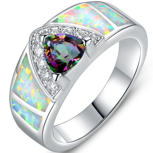 Gold White Synthetic Fire Opal & Mystic Topaz Ring