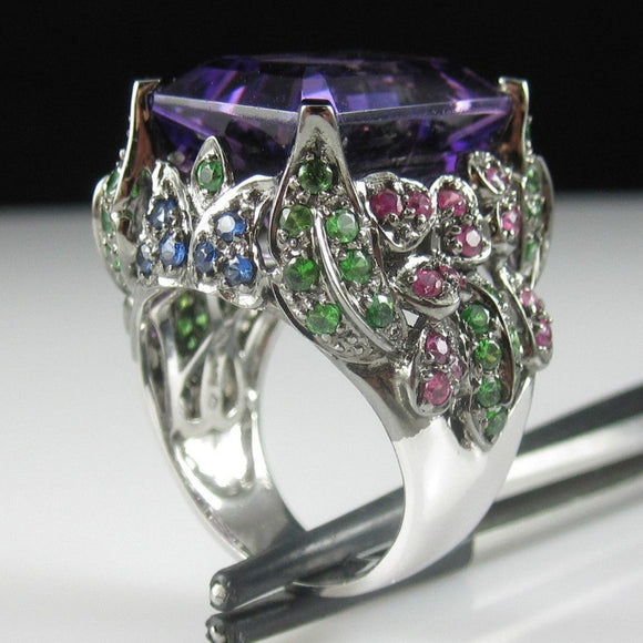 Synthetic 8.5CT Amethyst Emerald Ruby Sapphire Silver Ring