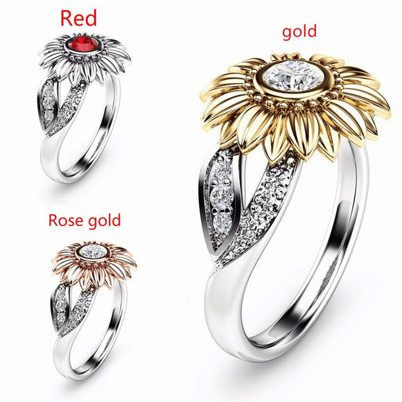 Unique Sunflower flower Silver& Yellow Gold Filled Round Cut White Topaz Wedding Engagement Jewelry Ring Size 6-