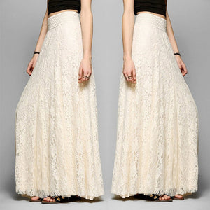 WOMENS FOLD OVER WAIST LONG LADIES LONG MAXI Lace SKIRT Full Length 6 8 10 12 14