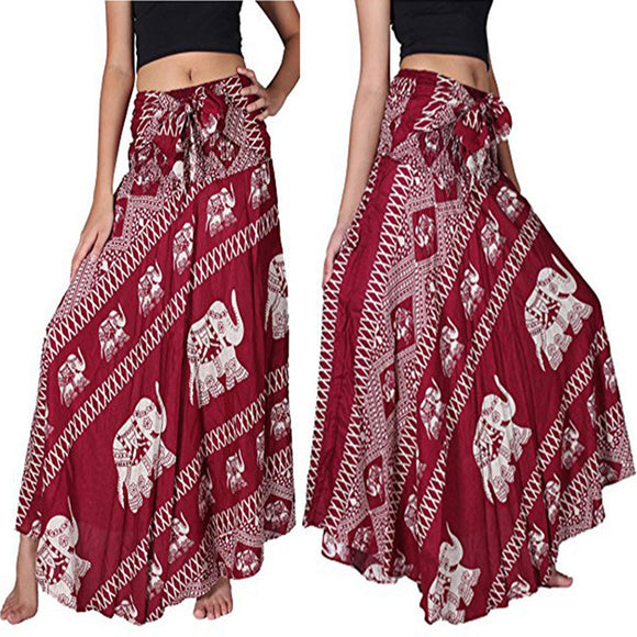 Casual Women Autumn Long Skirts Elephant Printed Maxi Loose Bohemian Tied Waist Yoga Casual Dress - The Rogue's Clothes