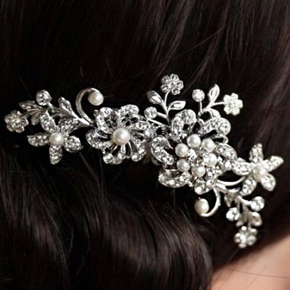 Bridal Bridesmaid Wedding Plum Flower Crystal Rhinestone Pearls Hair Clip Comb Headpiece (Size 11cm by 6.5cm; Color Silver) - The Rogue's Clothes