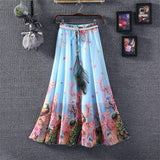 Grandwish Women Summer Chiffon Long Skirt Floral Print Pleated Bohemian Beach Skirts