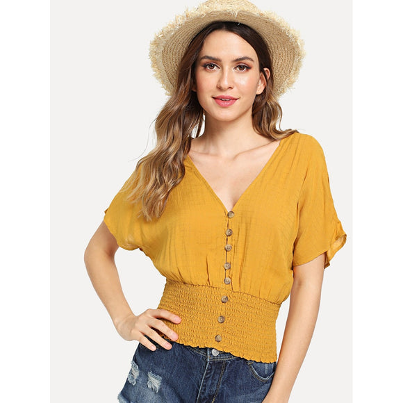 Button Front Shirred Hem Blouse - The Rogue's Clothes
