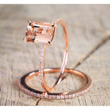 Worth To Buy Exquisite 18K Rose Gold Floral Rings Set Slim Princess Morganite New Year Anniversary Proposal Gift Clear Diamond J