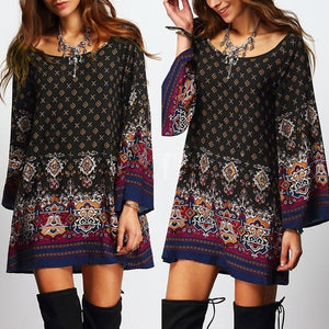 Women Floral Printed Loose Long Sleeve Mini Dress Long Shirt Top Blouse