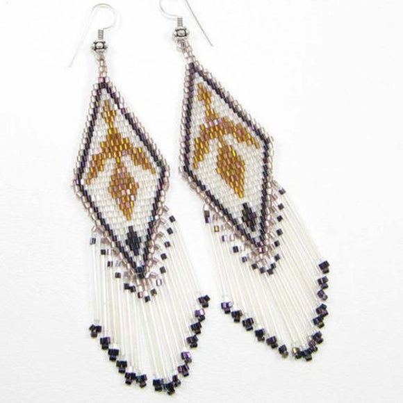 Copper White Beaded Eagle Native American Style Earrings