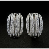 Women Fashion Brand Jewelry White Sapphire Silver Stud Hoop Earrings