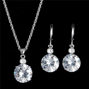 1Set 18K White/Yellow Gold Filled Brilliant Cubic Zirconia CZ Pendant Necklace Earrings Jewelry Set - The Rogue's Clothes
