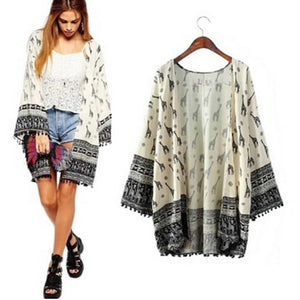 New Fashion Women Giraffe Pattern Printed Kimono Cardigan Blouse Tops Beach Cover Up