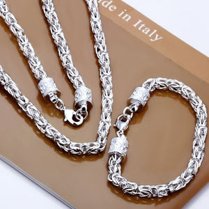 wholesale Sterling Silver jewelry,925 necklace & bracelet jewelry set