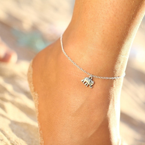 Summer Fashion Beach Holiday Elephant Anklet Bracelet Goldplated Silver Chain Cute Unique Leisure Pretty Beautiful Women Anklets