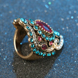 2016 Bohemia Unique Synthetic Diamond Crystal Ruby Jewelry Craving Nightclub Gemstone Lady's Ring - The Rogue's Clothes