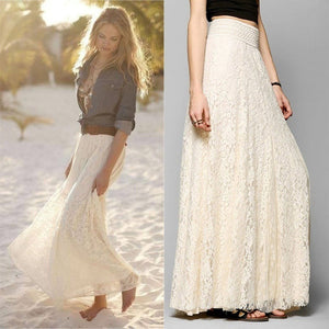 Fashion Womens Lace Layered Hitched Maxi Skirt A Line Gypsy Boho Long Asymmetric Summer