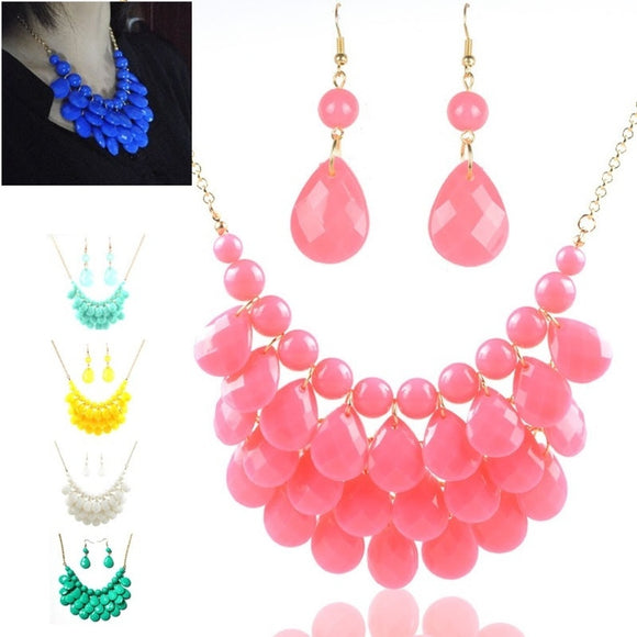 Drop Multi-layer Jelly Candy Short Necklace Earring Jewelry Set