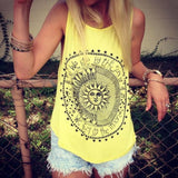 New Women's Fashion Sleeveless O-Neck Print Casual Tank Tops T-Shirt ( 4 Colors)