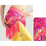 Fashion Women Belly Dance Gold Coin Hip Scarf Skirt Coin Sequins Dance Dress
