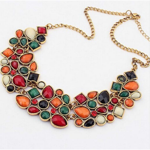 Semi-precious Stones Vintage Women Choker Necklaces Jewelry& Accessories Bib Statement Necklace