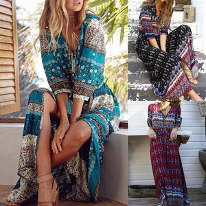 Bohemia Floral Print Women V-neck Maxi Dress Ethnic Style Beach Boho Long Dress Retro Hippie Vestidos - The Rogue's Clothes
