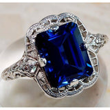 Imitation Blue Sapphire 925 Solid Genuine Sterling Silver Art Deco Filigree Ring Sz 6-10