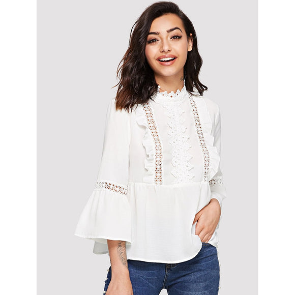 Lace Detail Flounce Sleeve Smock Top