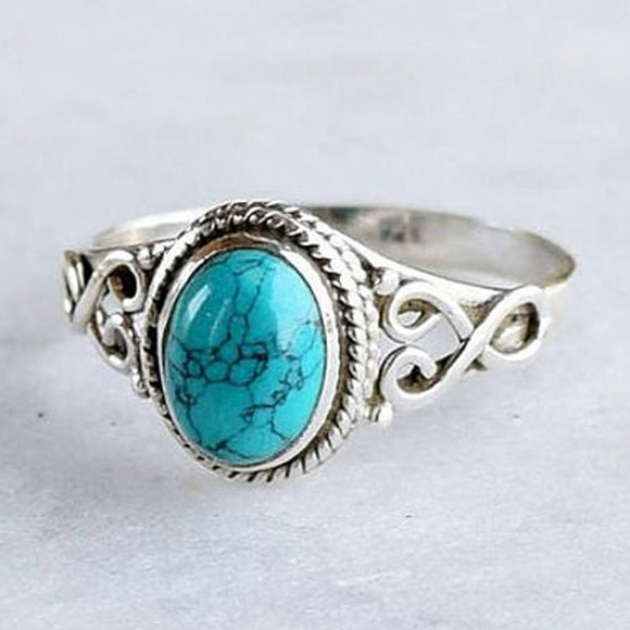 Antique Style Jewelry Silver Turquoise Gemstone Bride Wedding Engagement Vintage Ring Gifts Size 6-10 - The Rogue's Clothes