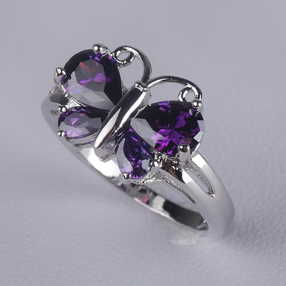 Fashion jewelry Womens 14K White Gold Filled Crystal Butterfly Lady Rings Size 5-12