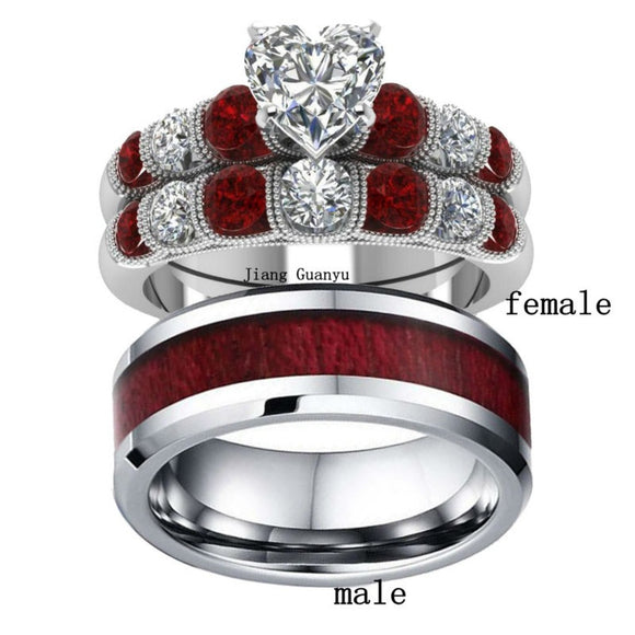 2 Rings Couple Rings Tungsten steel Men's Band Silver White Gold Filled Heart Zircon Garnet Women's Wedding Ring Sets - The Rogue's Clothes