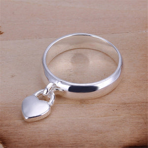 New Design Smooth rings Silver Heart Locket Ring Hot Sale