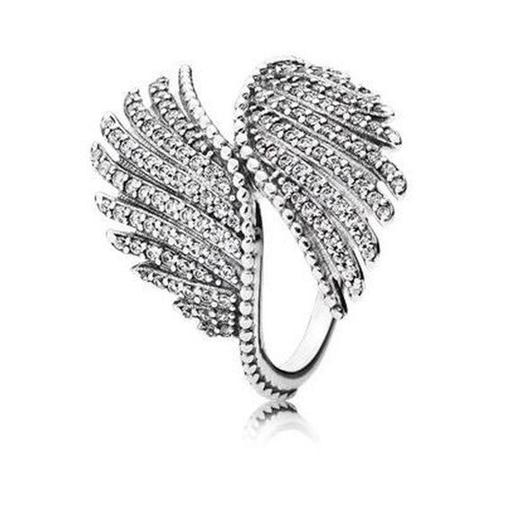 Women's Fashion Silver Feather Rings 2.6CT Synthetic White Topaz Eternity Rings Size 5 - 10