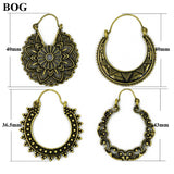 Brass Gold Tone Ornate Swirl Hoop Gypsy Indian Tribal Ethnic Earrings Boho Body Jewelry For Women Drop Dangle Earring - The Rogue's Clothes