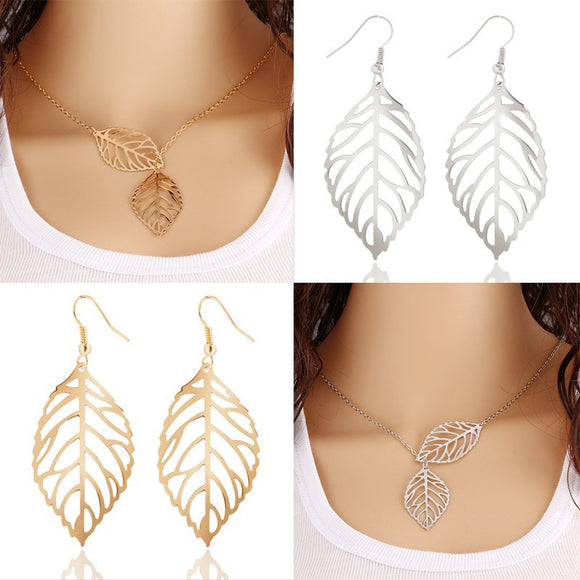 Women Silver Plated Leaves Shape Hollow Pendent Necklace Dangle Drop Earrings Jewelry Sets