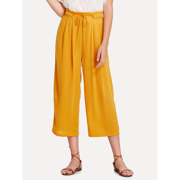 Knot Waist Frill Trim Wide Leg Pants