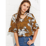 Choker Neck Floral Print Top - The Rogue's Clothes