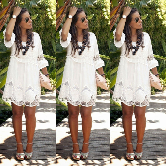 2018 New Summer Fashion Womens Dress O-neck Hollow-out Lace White Dress Ladies Casual Half Sleeve Plus Size Dress(S-6XL) - The Rogue's Clothes