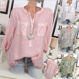 Women's Fashion Plus Size Casual Loose V-neck Lace Patchwork Long Sleeve Blouse Tops
