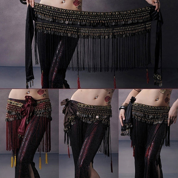 Belly Dance Hip Scarf Tribal Fringe Tassel Belt&Copper Coins Costume LAT - The Rogue's Clothes