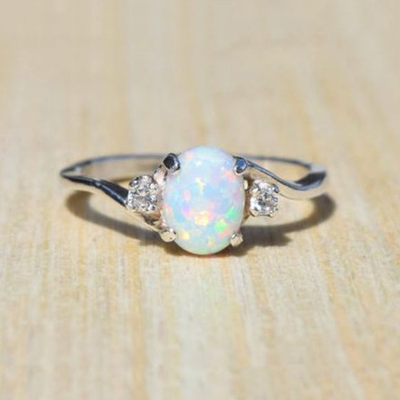 Exquisite Women's Silver Ring Oval Cut Fire Opal Diamond Jewelry Birthday Proposal Gift Bridal Engagement Party Ban