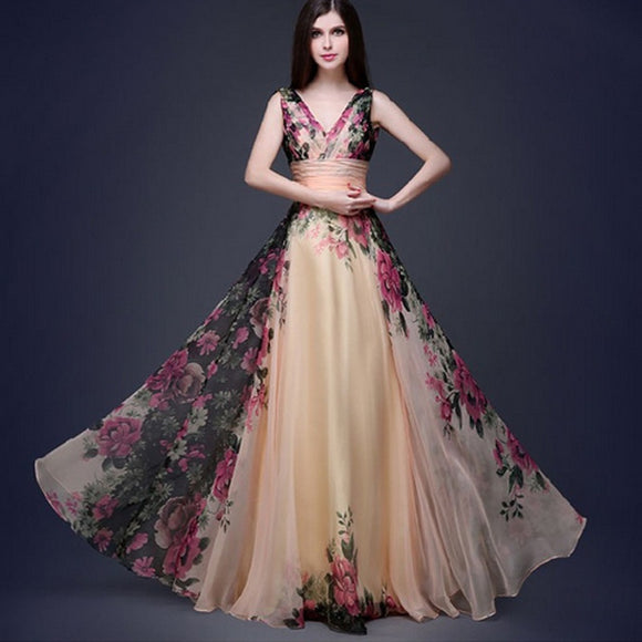 New Fashion Women Sexy Floral Dress Sleeveless Elegant V-neck Long Dress Evening Party Prom Bridesmaids Chiffon Dresses
