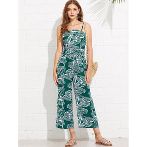 Foliage Print Self Tie Cami Jumpsuit