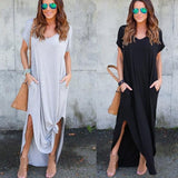 2017 New Women Ladies Summer Soild Color Short Sleeve Loose Casual V Neck Split Baggy Pocket Long Dress Full Length Dress - The Rogue's Clothes