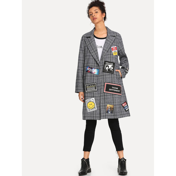 Patched Decoration Houndstooth Coat