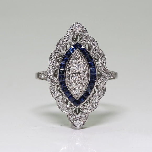 Antique Style Art Deco Large Silver Imitation Blue Sapphire & Diamond Marquis Cut Ring Engagement Wedding Jewelry - The Rogue's Clothes