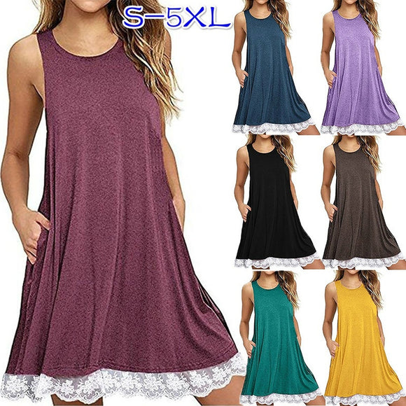2018 Spring and Summer Women Casual Sleeveless Dress Round Neck Tank Top Party Dresses Robe Sexy Ladies Fashion Lace Patchwork L - The Rogue's Clothes